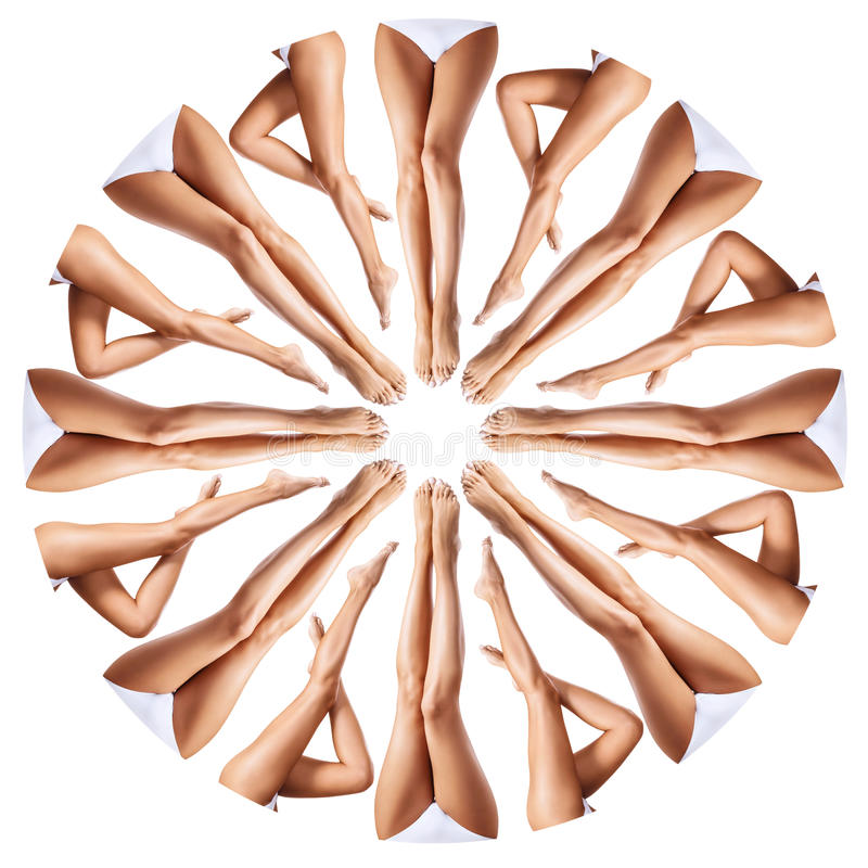 Beautiful female legs in kaleidoscope ornament. royalty free stock image