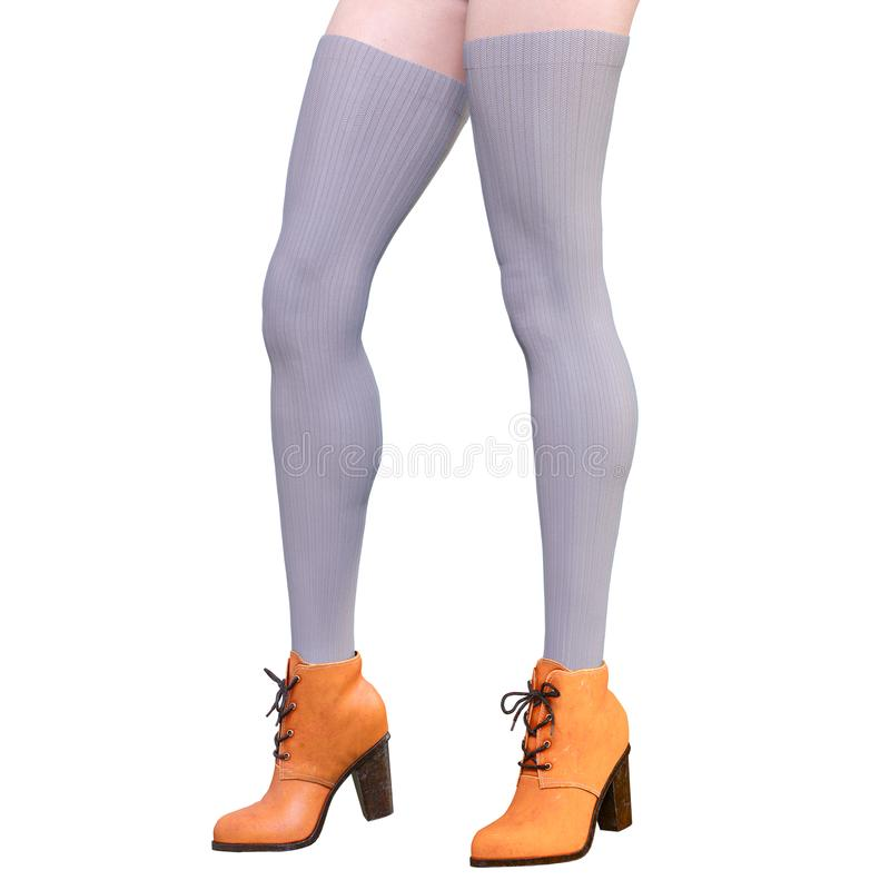 Beautiful female legs woolen leggings and half-beads stock images