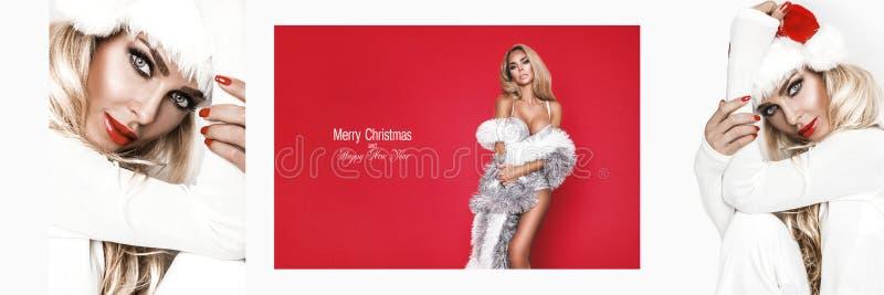 Beautiful female model wear santa hat. Panorama banner. Christmas card - Image stock photos