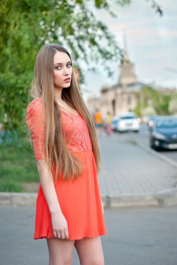 Beautiful female in street royalty free stock image