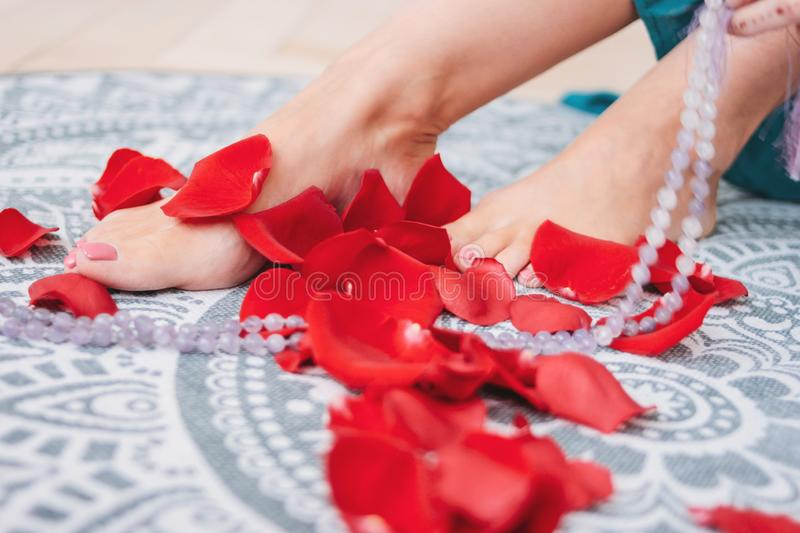Beautiful female tanned legs with pink pedicure among rose petals, close-up stock photo