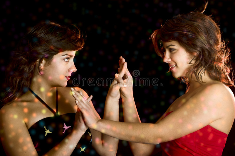 Beautiful female twins stock photo