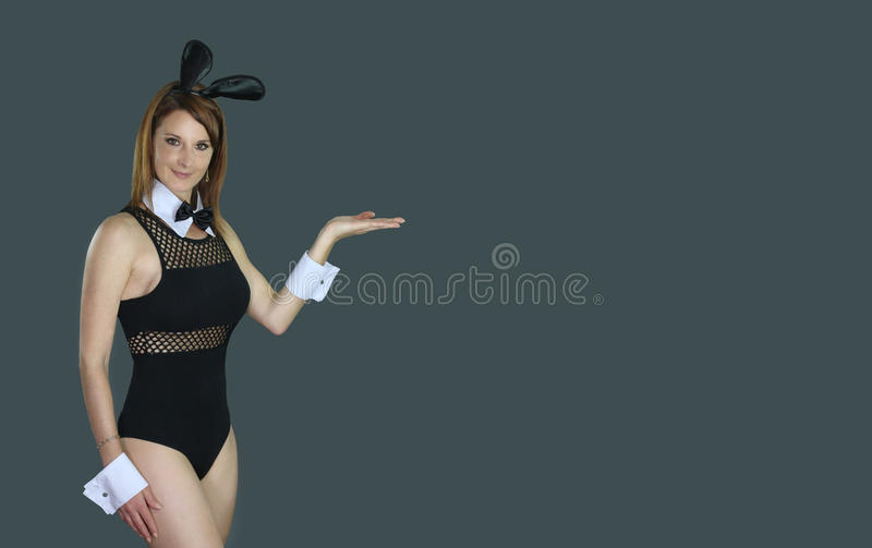Beautiful female wearing a bunny outfit. Over a gray background royalty free stock photos