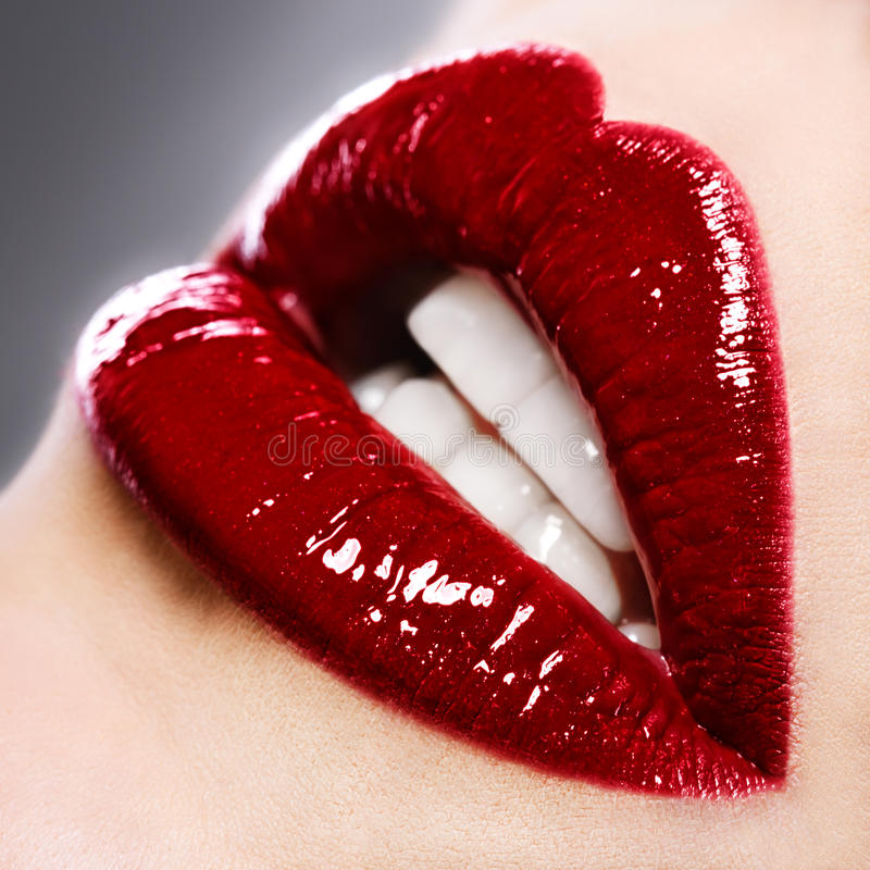 Free Beautiful Female With Red Shiny Lips Royalty Free Stock Image - 28951816