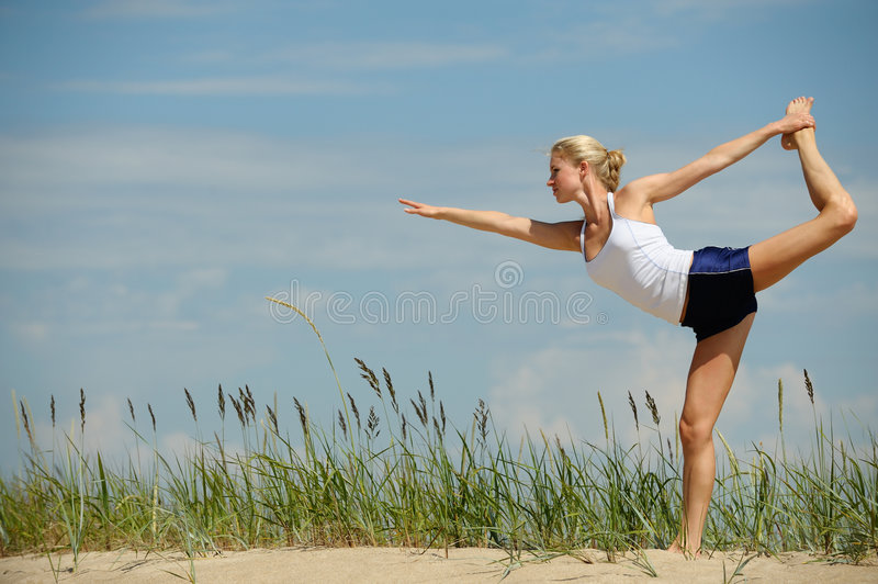 Beautiful female workout stock image