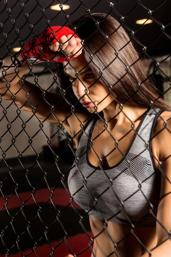 Beautiful female workout functional training. royalty free stock image
