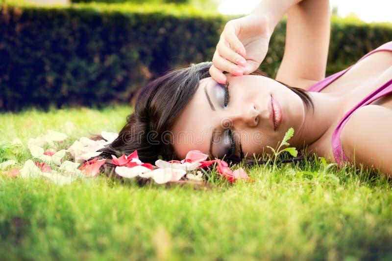 Download Beautiful Feminine Woman And Flower Petals Stock Photo - Image: 24210994