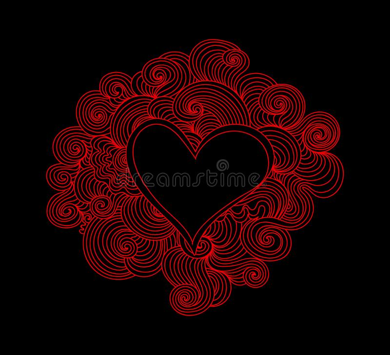 Beautiful festive decorative vector background with red heart and curling ornament around it vector illustration