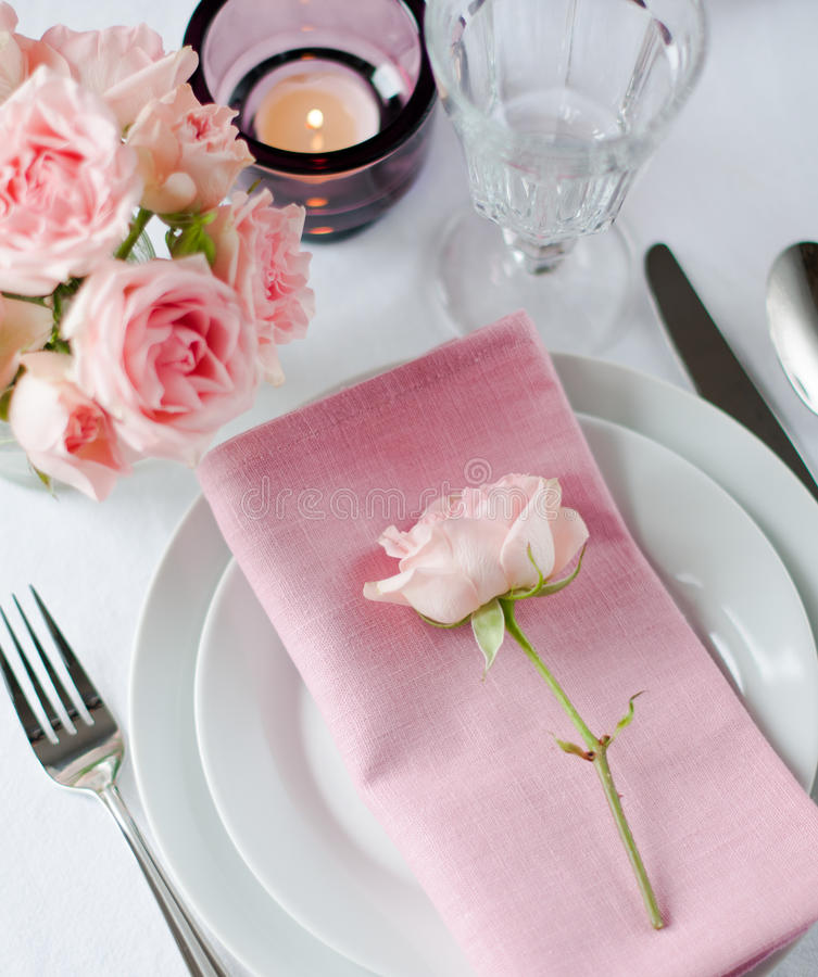 Download Beautiful Festive Table Setting With Roses Stock Photo - Image: 34225662