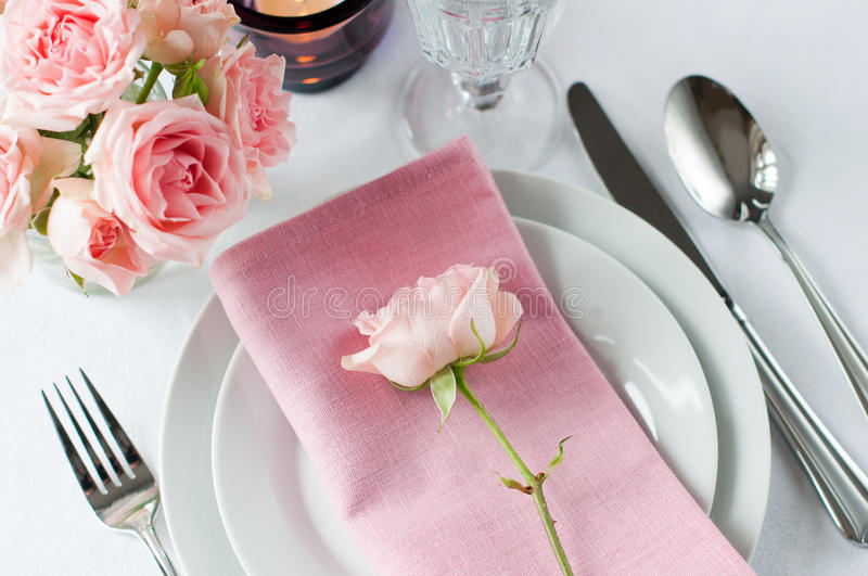 Beautiful Festive Table Setting With Roses Stock Photography