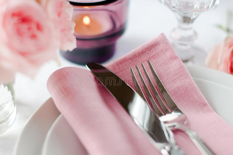 Beautiful Festive Table Setting With Roses Stock Images