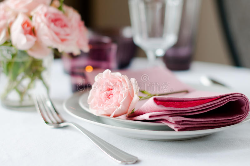 Download Beautiful Festive Table Setting With Roses Stock Photography - Image: 34226432