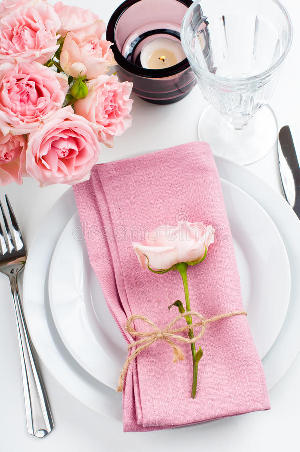 Download Beautiful Festive Table Setting With Roses Stock Image - Image: 34226497