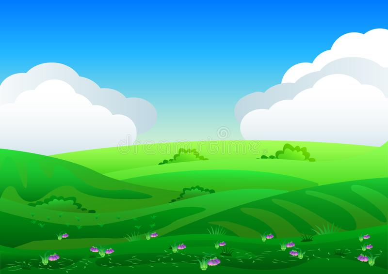 Beautiful fields landscape with a dawn, green hills, bright color blue sky, background in flat cartoon style. vector illustration