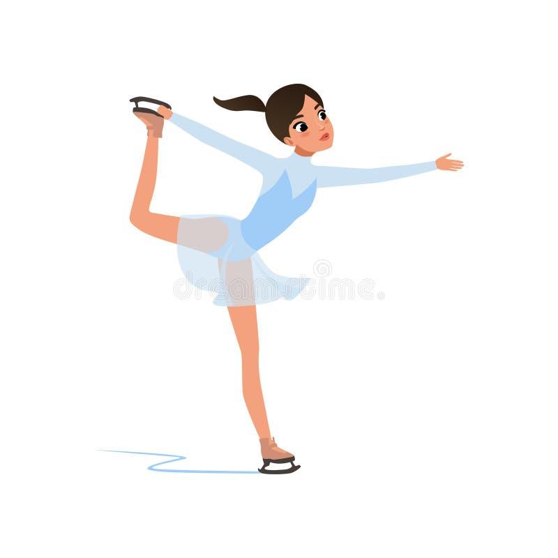 Beautiful figure skater girl in short blue dress skating, female athlete practicing at indoor skating rink vector stock illustration