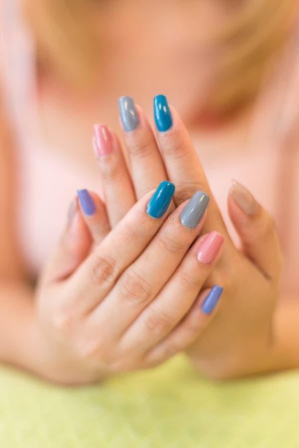 Free Beautiful Fingernail Manicure Acrylic Nail Polish Of Woman Stock Photo - 98203900