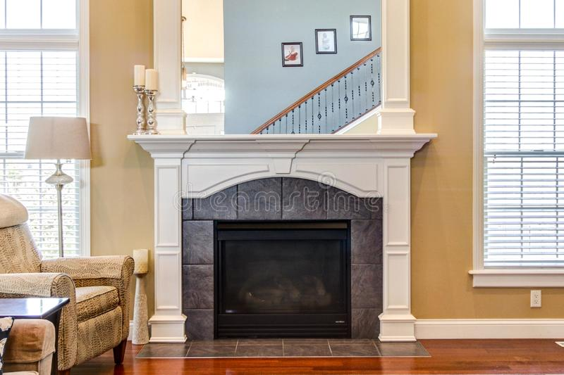 Beautiful fireplace in contemporary home. stock photo