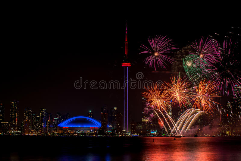 Beautiful firework with CN tower Canada. Beautiful blue firework with CN tower Canada stock photo