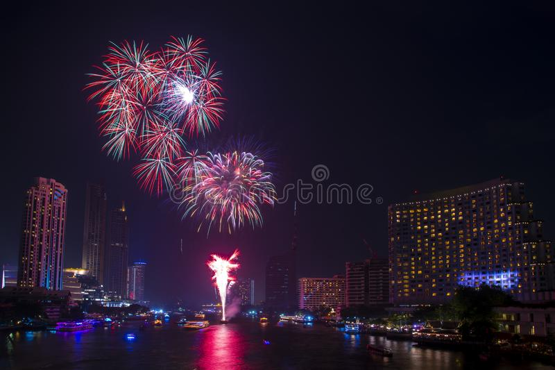Beautiful firework display for celebration happy new year and merry christmas with  Twilight night and firework lighting in stock images
