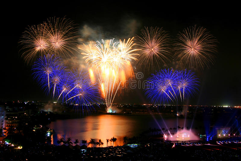 Beautiful firework in Thailand stock photography