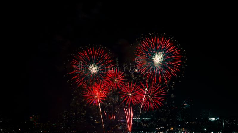 Beautiful fireworks against the background as over city scape view stock photography