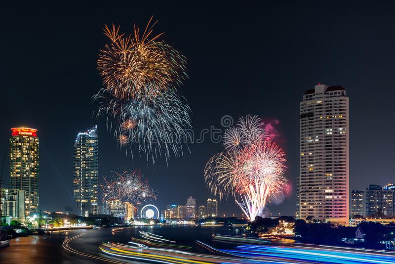 Beautiful of Fireworks Anniversary New Year Celebration With Cityscape Scenery of Bangkok City, Thailand. Amazing Scenic of stock images