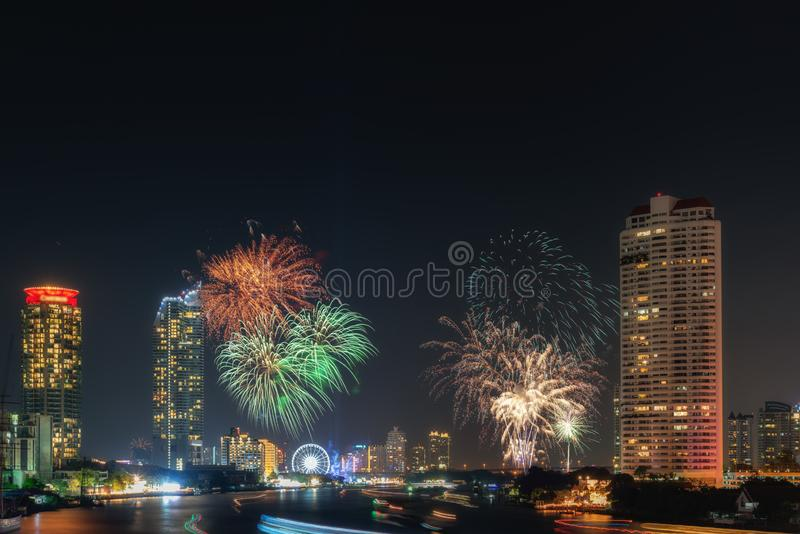 Beautiful of Fireworks Anniversary New Year Celebration With Cityscape Scenery of Bangkok City, Thailand. Amazing Scenic of stock photos