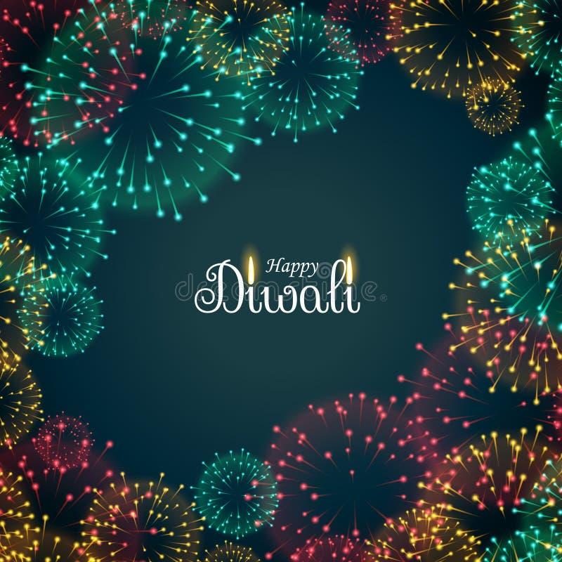 Beautiful fireworks background for diwali festival. Vector stock illustration