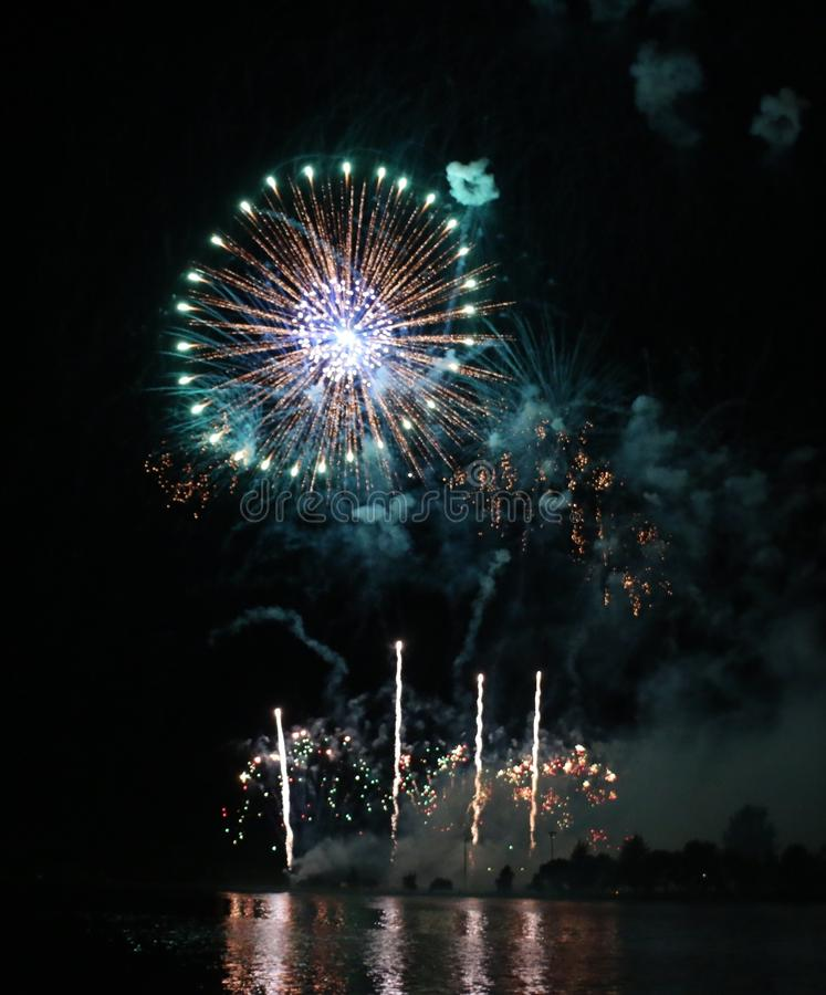 Beautiful Fireworks Display. A beautiful fireworks display lights up the night royalty free stock images