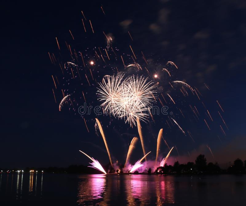 Beautiful Fireworks Display. A fireworks display lights up the night stock image