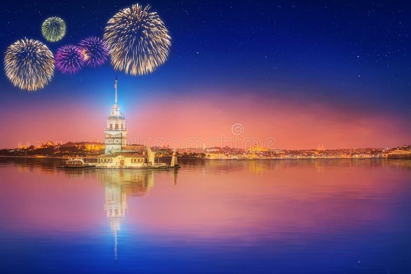 Beautiful fireworks near Maiden Tower or Kiz Kulesi Istanbul. Turkey stock photography