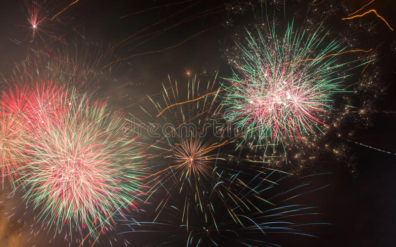 Beautiful Fireworks in night sky background stock photos