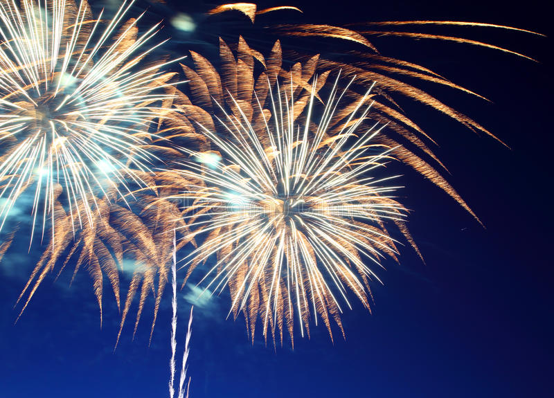 Beautiful fireworks show royalty free stock images