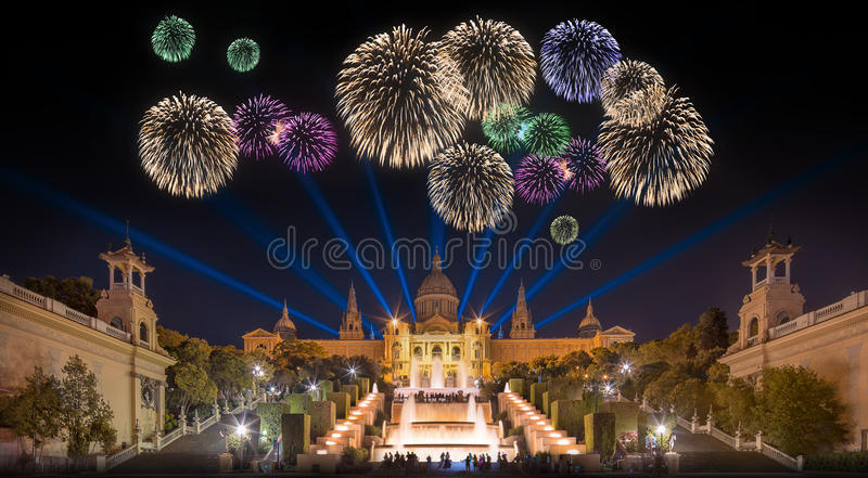 Beautiful fireworks under Magic Fountain in Barcelona stock photo
