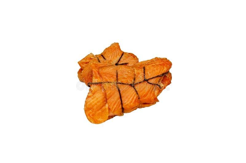 Beautiful fish salmon hot smoked ridges. I. Solate stock images