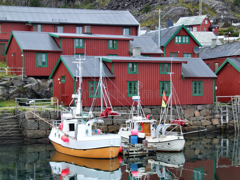 Beautiful fishing harbor in Norway stock photos