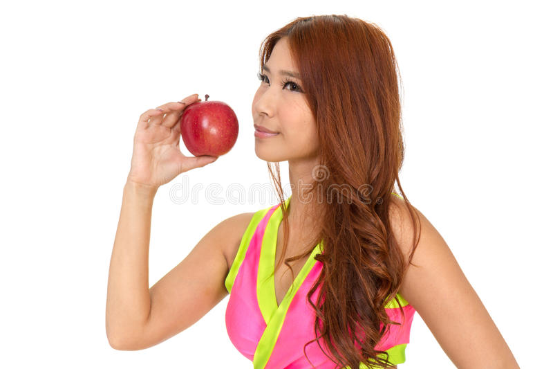 Download Beautiful Fit Chinese Woman Holding An Apple Stock Image - Image of adult, attractive: 39501185