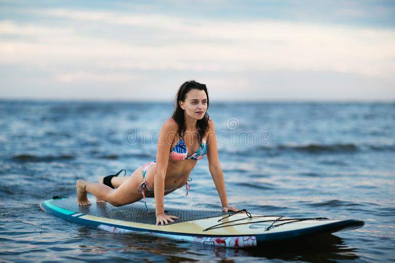 Beautiful fit surfing girl on surfboard on in the ocean. Woman ride good wave royalty free stock photography