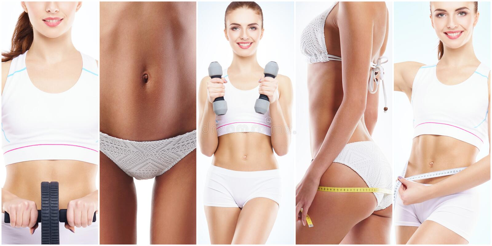 Beautiful and fit woman in a fitness workout. Isolated collage. Sport, nutrition, health and weight loss concept. stock images