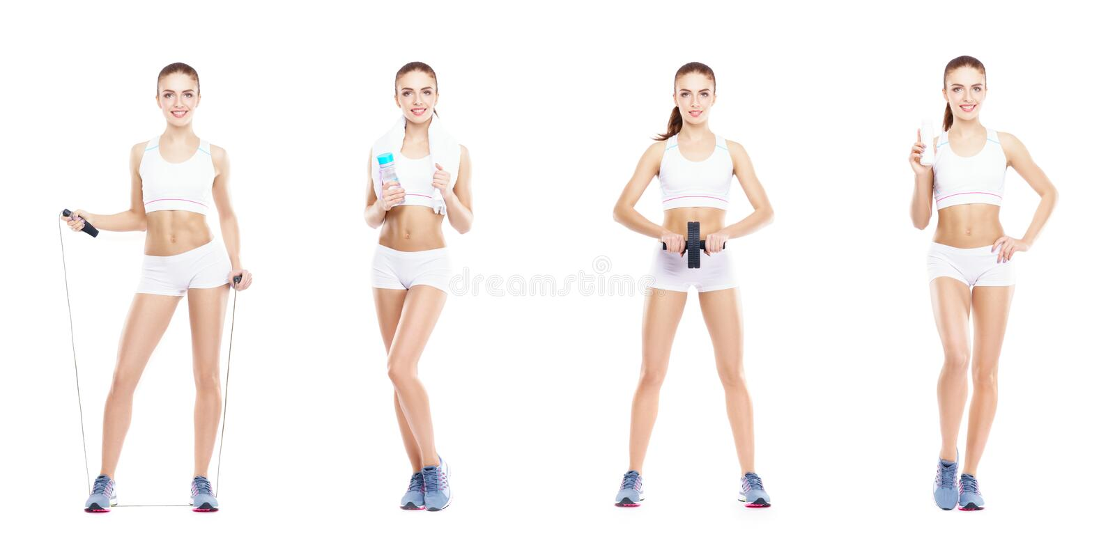 Beautiful and fit woman in a fitness workout. Isolated collage. Sport, nutrition, health and weight loss concept. stock photo