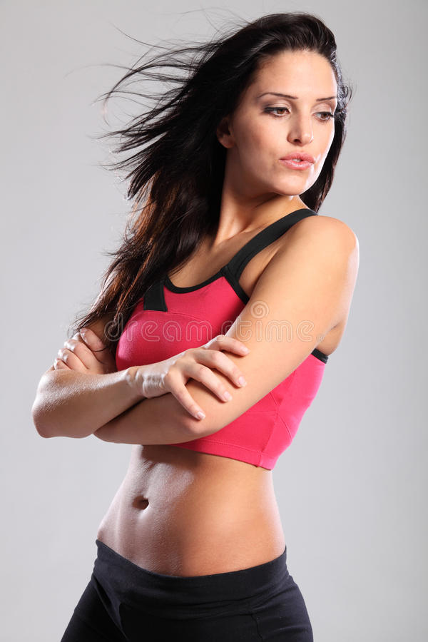 Download Beautiful Fit Young Sports Woman In Pink Lycra Stock Photo - Image: 19658424