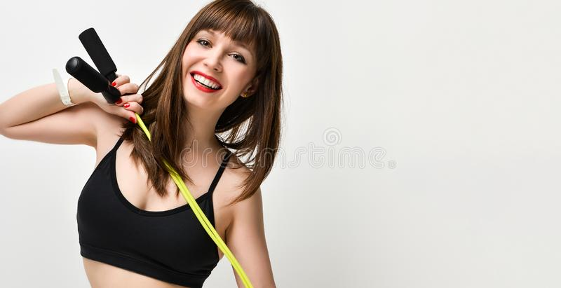 Beautiful fitness woman working out, studio shot royalty free stock photos