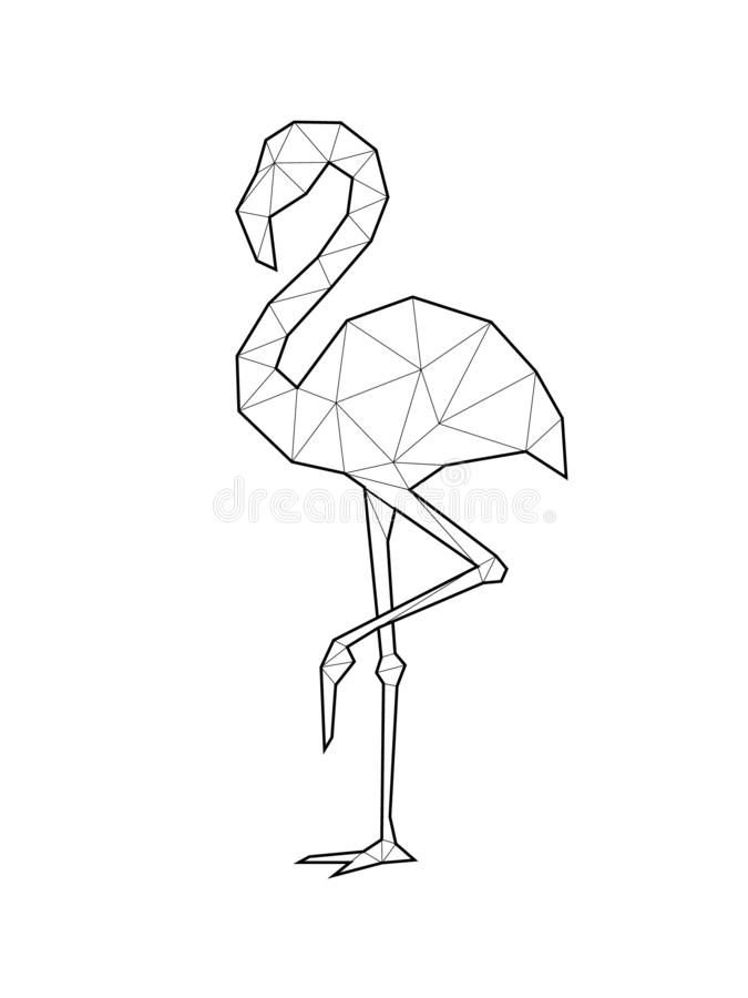 Beautiful flamingo illustration in geometric or polygonal with black lines. Minimal summer poster. Vector illustration. For home decoration stock illustration