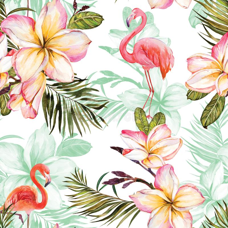 Beautiful flamingo and pink plumeria flowers on white background. Exotic tropical seamless pattern. Watecolor painting. Hand painted illustration. Wallpaper stock illustration