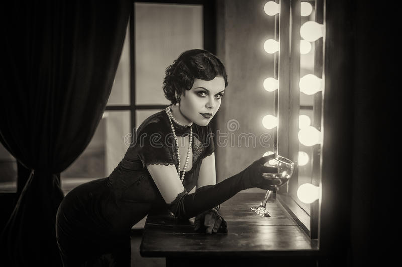 Beautiful Flapper girl royalty free stock images