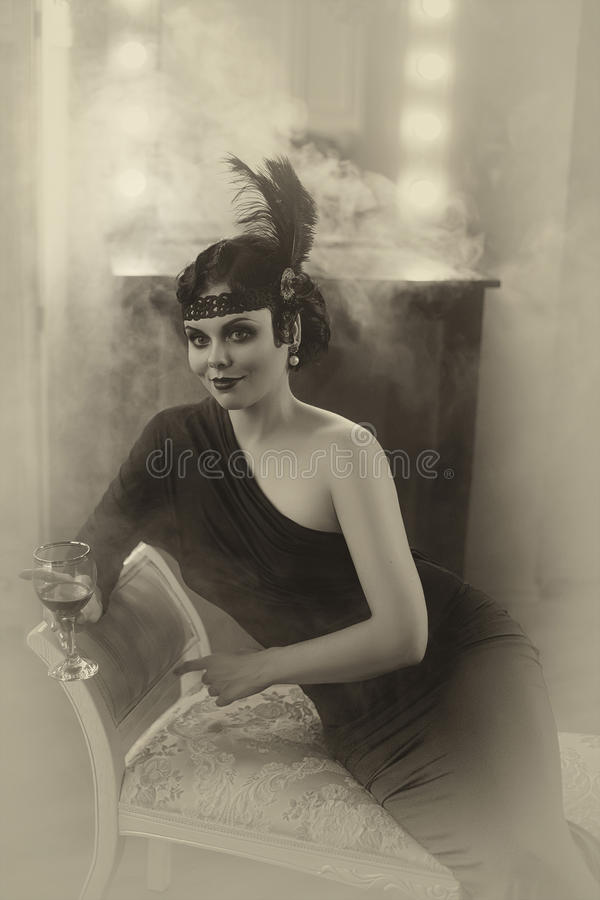Beautiful Flapper girl royalty free stock image