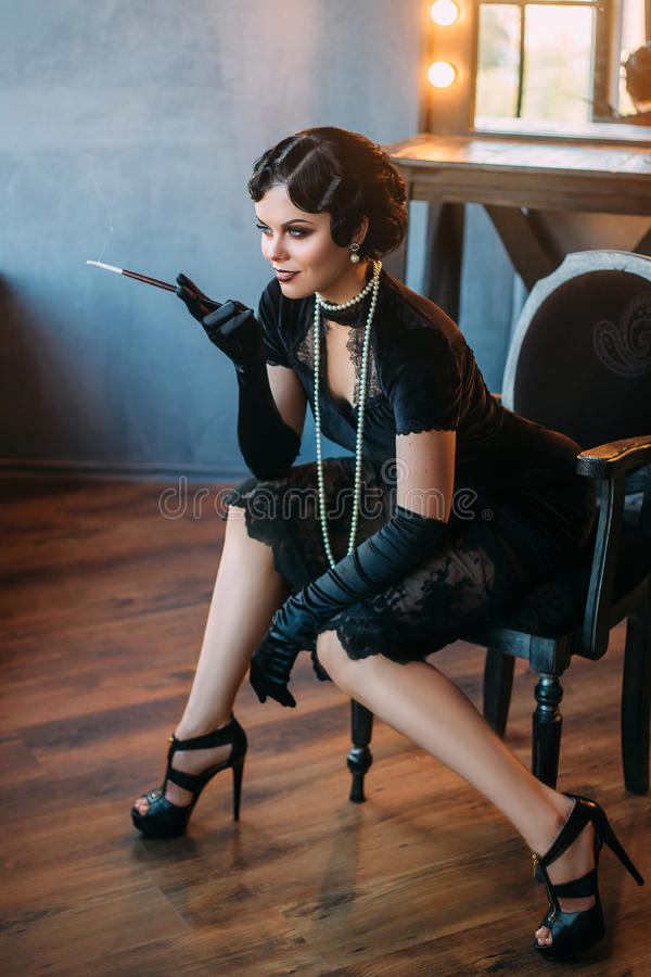 Beautiful Flapper girl royalty free stock photos