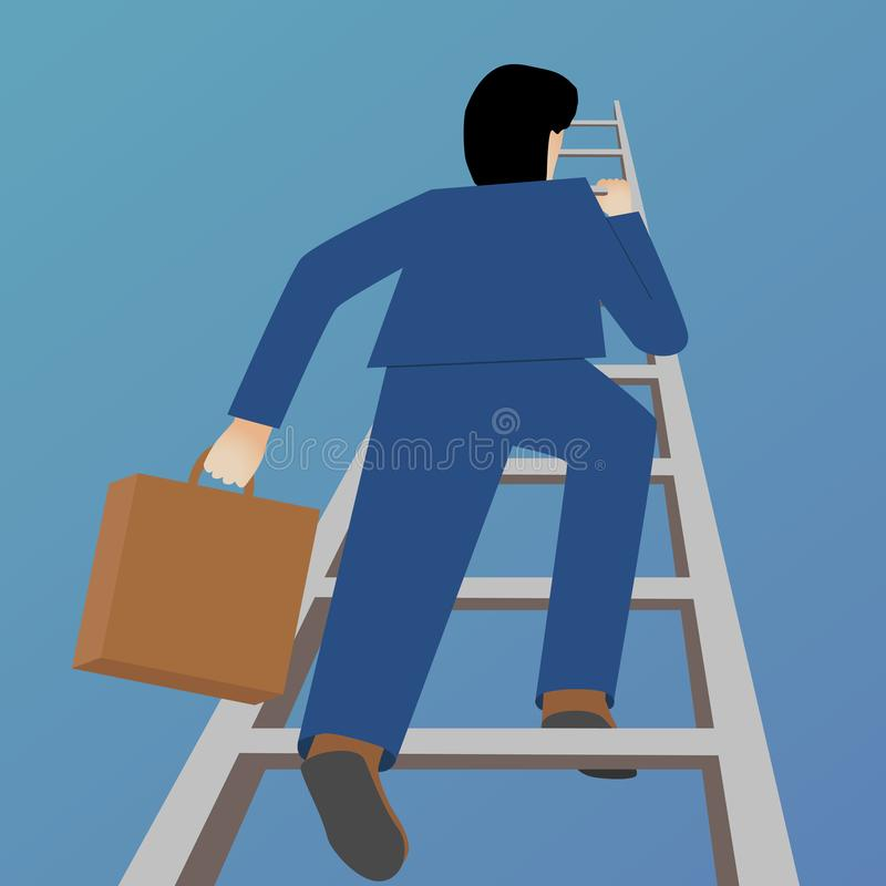 Beautiful flat design business vector metaphor of a businessman climbing a ladder vector illustration