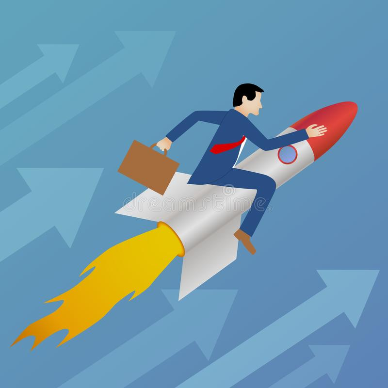 Beautiful flat design business vector metaphor of a businessman sitting on a rocket and heading upwards royalty free illustration
