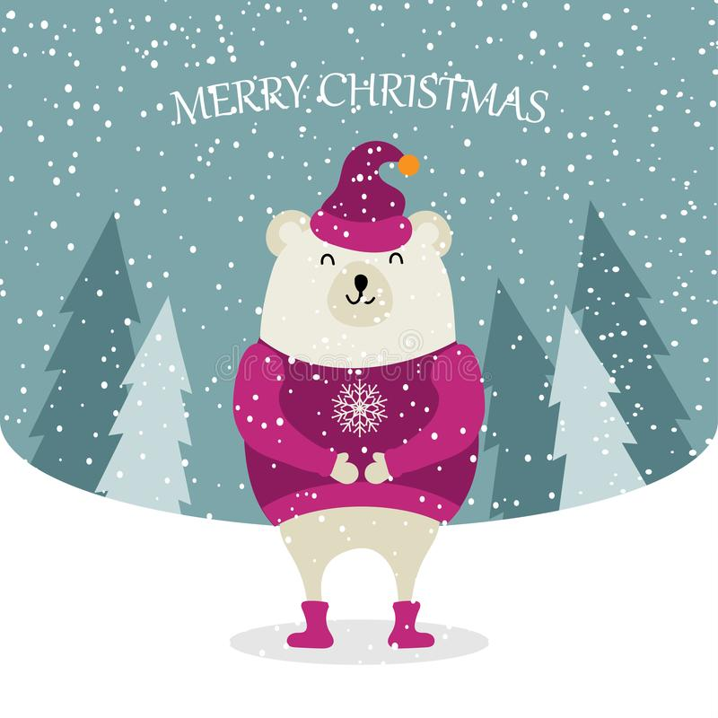 Beautiful flat design Christmas card with dressed polar bear. Christmas poster. Vector vector illustration